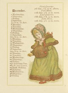 December - Kate Greenaway's Almanack for 1886