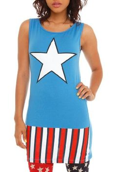 Captain America (Marvel Comics) Womens Tank Top Tunic Full Fitted Costume Tank Dress « Clothing Impulse