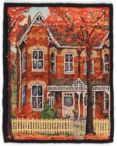 """Toronto Bay 'n Gable House"" (in Autumn) original design & hooked by Trish Johnson of Toronto, Canada.  An amazing use of a variety of ORANGE shades to create a full scale Autumn feel!  Love this piece, just outstandingly done!"
