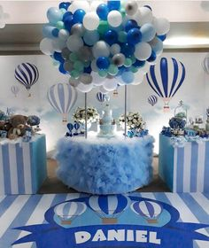 Viagem de balões linda by @talileandrocoutinho #festamenino #baloes #festabaloes #festaazul