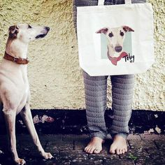 Custom pet canvas bag with whippet
