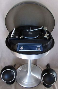 Vtg Appollo Space Age 1970 Modern Turntable Electrohome Record Player Tulip Base