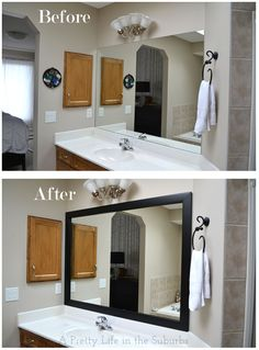 Diy bathroom mirror frame ideas your a pretty kit home decorating synonym . Bathroom Mirrors Diy, Large Bathrooms, Bathroom Renos, Simple Bathroom, Bathroom Mirror Makeover, Bathroom Repair, Bathroom Laundry, Wall Mirrors, Bathroom Cabinets