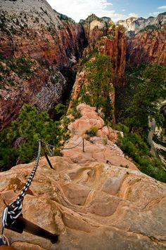Angels Landing - Hiking Path Chains, Zion National Park, Utah United States