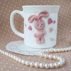 Lovely Pink Bunny Mug / handmade polymer clay decor /teacup