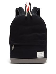 THOM BROWNE Twill and pebbled-leather backpack.  thombrowne  bags  leather   lining  canvas  backpacks  cotton 4a1384a28344b