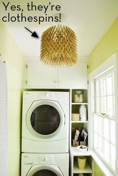 How to make a clothespin pendant light. Great idea for a laundry room light! Just might have to do it.