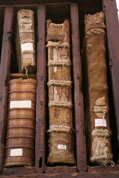 Great old books with customized wood dividers