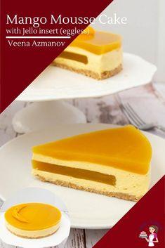 Mango Mousse Cake, Mango Cheesecake, Mango Cake, Mousse Dessert, Small Desserts, French Desserts, Sweet Desserts, Entremet Recipe, Mango Jelly