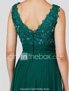 A-Line Princess V-neck Floor Length Chiffon Formal Evening Dress with Beading  Appliques fcb86240d0cb