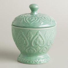 Aqua Embossed Ceramic Canister | World Market