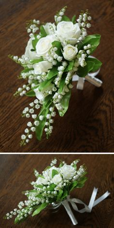 Simply elegant Lily of the valley and white Rose faux bouquet