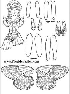 X girl fairy doll. i think it would be fun to mix and match different paperdoll parts to make personalized paperdolls! love the wings! Paper Puppets, Paper Toys, Fairy Crafts, Doll Crafts, Crafts For Girls, Arts And Crafts, Theme Noel, Vintage Paper Dolls, Fairy Dolls