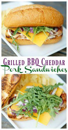 Grilled BBQ Cheddar Pork Sandwiches [ quick dinner recipe ] [ easy sandwich recipe ]   [grilled pork recipe ]  #realflavorrealfast @walmart @smithfieldfoods ad