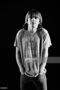 Rhythm guitarist Malcolm Young from Australian rock band AC/DC posed in a studio in London in August 1979.