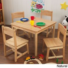 Farmhouse Table & 4 Chair Set - Natural - Kidkraft child needs their own work space. Sized just right for them, the durable and good-looking KidKraft Farmhouse Table & 4 Chair Set is the perfect place for up to four kids to play a game, enjoy a Kids Table Chair Set, Kids Play Table, Kid Table, Toddler Table, Farmhouse Table Chairs, Writing Table, Wood Square, Square Tables, Kitchen Sets
