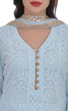 Powder Blue Chikankari And Gota Patti Anarkali Pure Georgette Suit