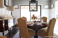 Dining Room - BM Rockport Gray, tan/white accents, lantern, burlap, wainscoting