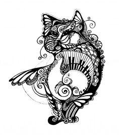cat drawings | Piano Cat Drawing by Irina Yezhova - Piano Cat Fine Art Prints and ...