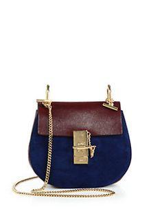 Chloé - Drew Small Bicolor Leather   Suede Shoulder Bag Chloe Handbags 6fd70c03a86e3