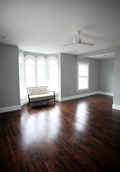 Ideas living room grey walls dark floors benjamin moore for 2019 Living Room Colors, Living Room Paint, Living Room Grey, Living Rooms, Dark Wood Floors Living Room, Wood Walls, Bedroom Colors, Family Rooms, Wood Paneling