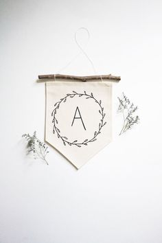 NEW Small Initial Banner - Wall Flag - Fabric Banner - Canvas Banner