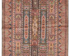 "4'1"" X 6'4""  Vintage Persian kashmir soft pastel peach and blue rug"