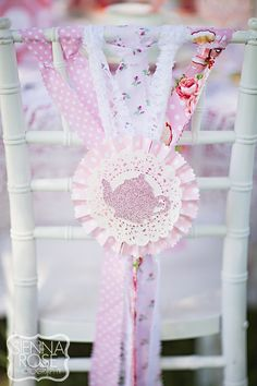 Tie material strips on things--Vintage Tea Party for a little girl's birthday