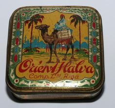 Ok so the package is great, but Halva? I mean its good but its not a snickers. Fables For Kids, Amelia Peabody, Tea Container, Tin Man, Tea Tins, Vintage Typography, Vintage Tins, Tin Toys, Antique Toys