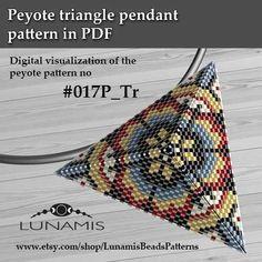 Peyote triangle patterns, pattern for triangle pendant, peyote patterns, beading, peyote stitch, digital file, pdf pattern #017P_Tr