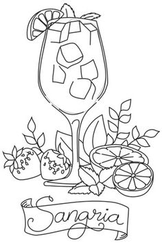 Fresh, creative designs and tutorials for machine and hand embroidery. Food Coloring Pages, Dog Coloring Page, Free Printable Coloring Pages, Adult Coloring Pages, Coloring Books, Wood Burning Stencils, Cocktail Illustration, Easy Drawings For Beginners, Paper Pop