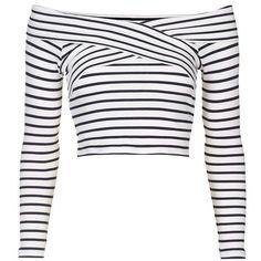 Petite Topshop Stripe Off the Shoulder Crop Top Long Sleeve Wrap Top, Striped Long Sleeve Shirt, Striped Crop Top, Stripe Top, Crop Top Outfits, Cute Casual Outfits, Outfits For Teens, Striped Off Shoulder Top, Shoulder Shirts