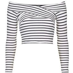 Petite Topshop Stripe Off the Shoulder Crop Top ($38) ❤ liked on Polyvore featuring tops, long sleeve tops, white long sleeve top, ribbed crop top, striped crop top and off shoulder tops