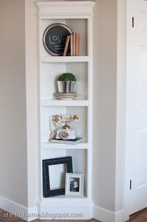 Tutorials on how to make this cute built in shelf. Such an awesome idea