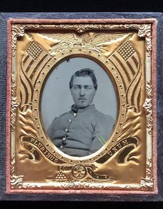 1/6 PLATE TINTED TINTYPE - CIVIL WAR SOLDIER - AWESOME PATRIOTIC MAT & FULL CASE