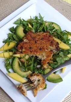 Crab Cakes over Mango-Avocado Arugula Salad #cookinglight #healthy