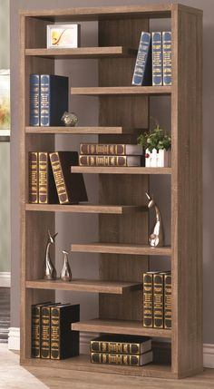 Brown Bookcase with a Slatted Shelf Design Coaster Furniture, Home Decor Furniture, Diy Home Decor, Furniture Design, Home Library Design, Home Room Design, Tree Bookshelf, Bookcases, Furniture Makeover