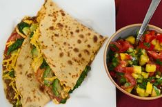 Big quesadillas with refried beans and spinach | festive vegan tortillas dishes - burritos, tacos, fajitas and more | vegkitchen.com