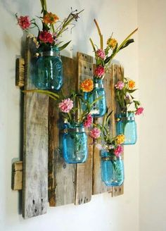 15 colorful DIY Mason jars for spring - Shabby-Deko - Vase ideen Pallet Projects, Home Projects, Craft Projects, Projects To Try, Pallet Ideas, Craft Ideas, Barnwood Ideas, Pallet Crafts, Backyard Projects