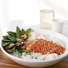 Sesame-Soy Salmon -- add a couple of cloves of minced garlic and a sprinkle of ginger to cut the sweetness, easy and tasty