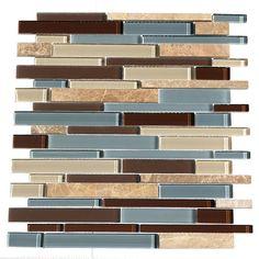 "Found it at Wayfair - Paragon 15.25"" x 15.65"" Glass Mosaic Stick Tile in Ocean"