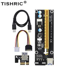 10pcs tishric pci-e extender pci express riser card 1x to 16x 60cm usb 3 0  cable sata to 4pin