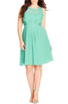 City Chic Paneled Lace Illusion Bodice Dress (Plus Size)