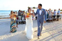 Congratulations! Newlyweds at a beach destination wedding at @dreamstulum in the Riviera Maya. Mexico wedding photographers Del Sol Photography.