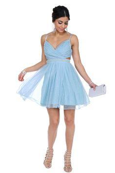 Cyndi Light Blue Glitter Prom Dress | WindsorCloud