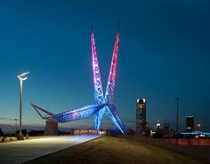 Oklahoma City's landmark bridge, Oklahoma City SkyDance Bridge, is a 380-foot-long pedestrian bridge and 197- foot-tall sculpture that spans Interstate 40 near Robinson Avenue south of downtown. The bridge's soaring architecture was inspired by Oklahoma's state bird, the scissor-tailed flycatcher.