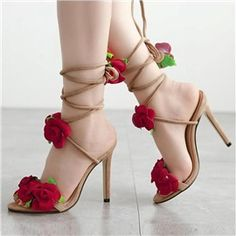 Stylish Open Toe Roses Lace-Up Stiletto High Heels Sandals