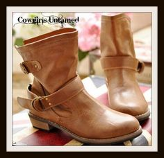 COWGIRL GYPSY BOOTS Brown Leather Slouch MidCalf Buckle Boots
