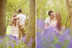 Engagement shoot. Pre wedding photo shoot in Sussex. Bluebells. Outdoor engagement photography. Romantic shoot in bluebell meadow. By Sussex wedding photographer Dennison Studios Photography. Engagement photo shoot inspiration.