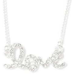#icing.com                #love                     #Rhinestone #Cursive #Love #Necklace #Icing         Rhinestone Cursive Love Necklace | Icing                                      http://www.seapai.com/product.aspx?PID=924758